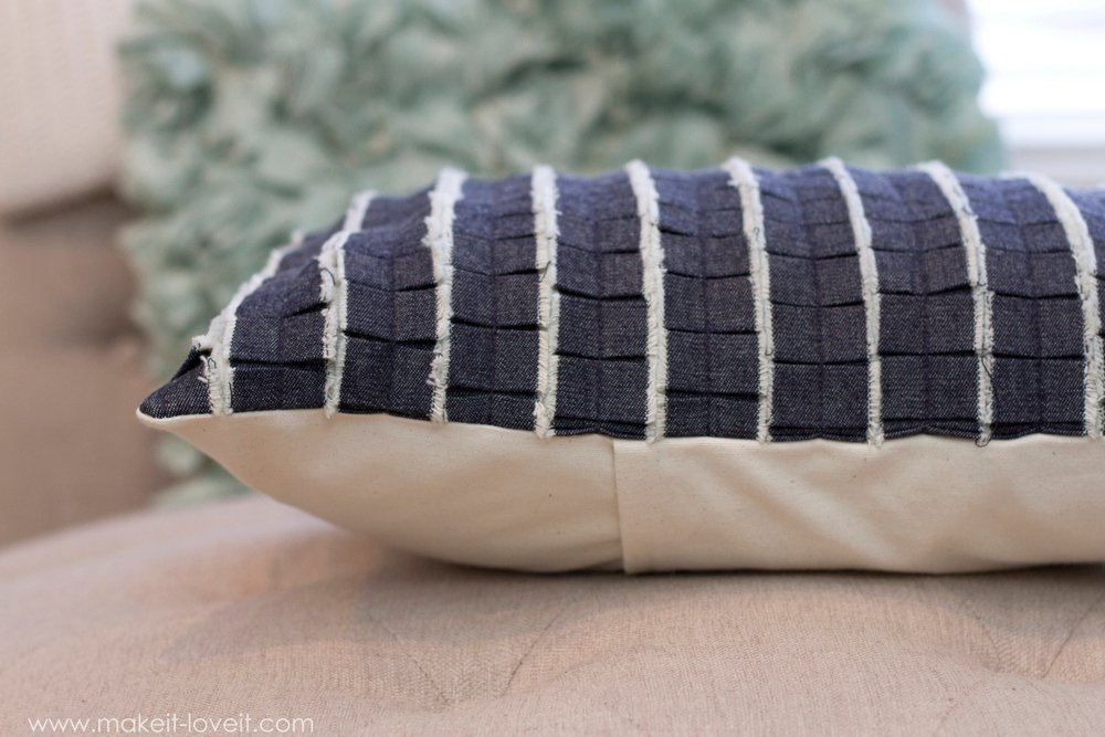 Pleated Ruffle Pillow with DENIM