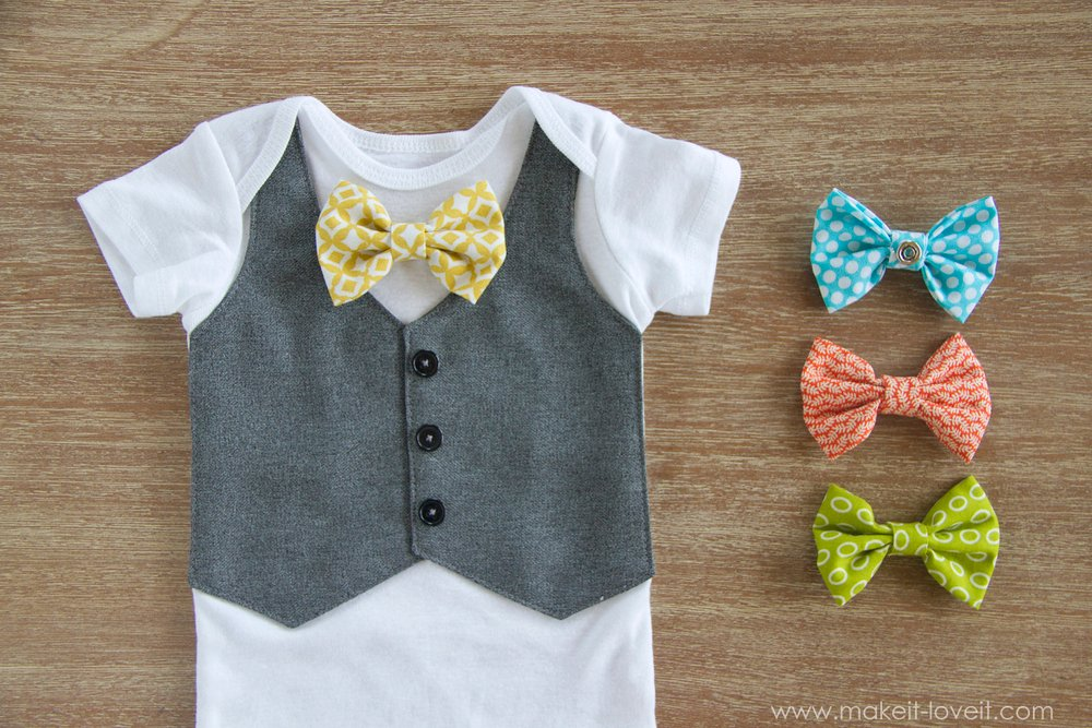 Faux Vest Onesie With Interchangeable Bowties Make It
