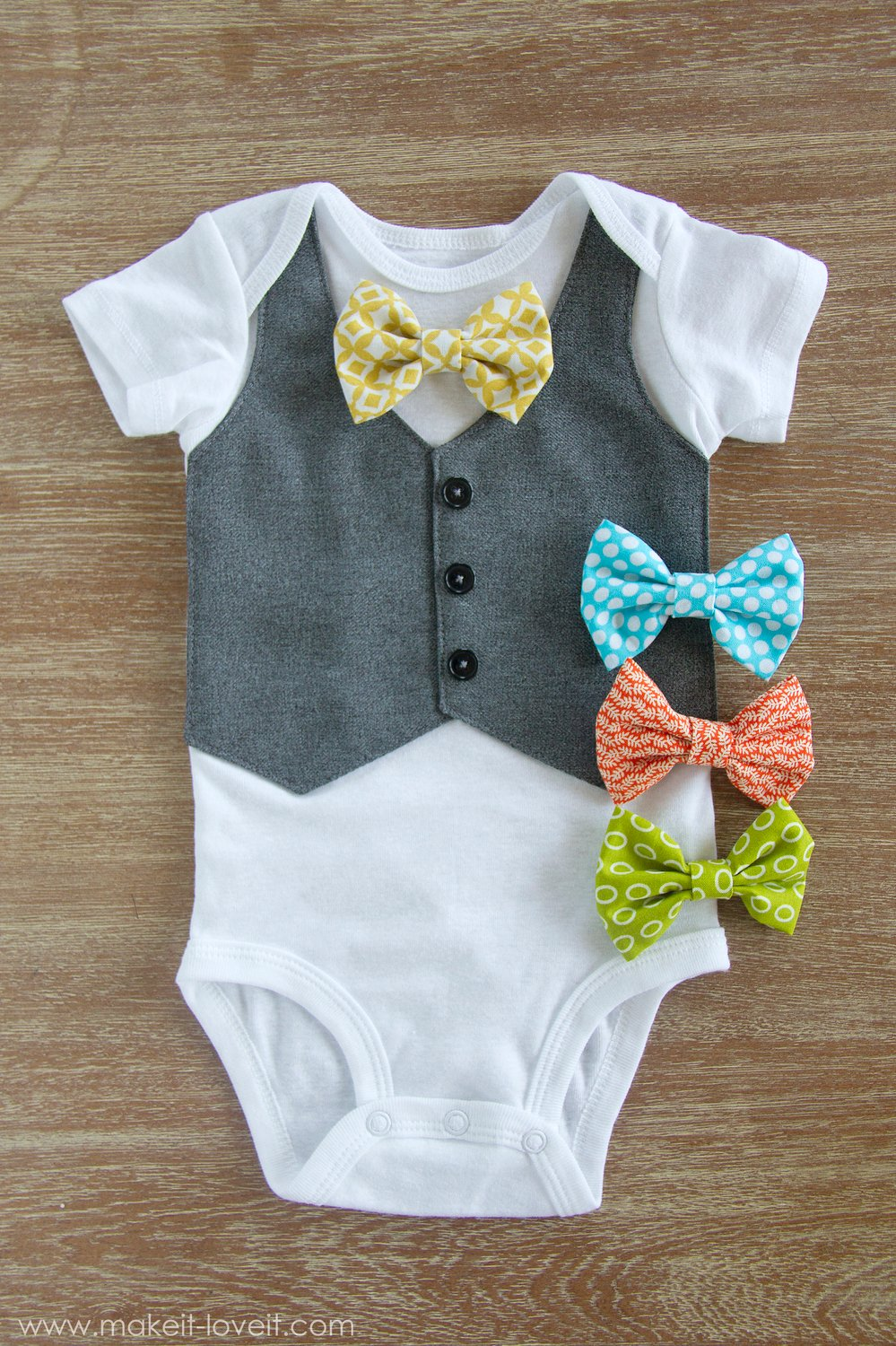 Faux Vest Onesie…with Interchangeable Bowties