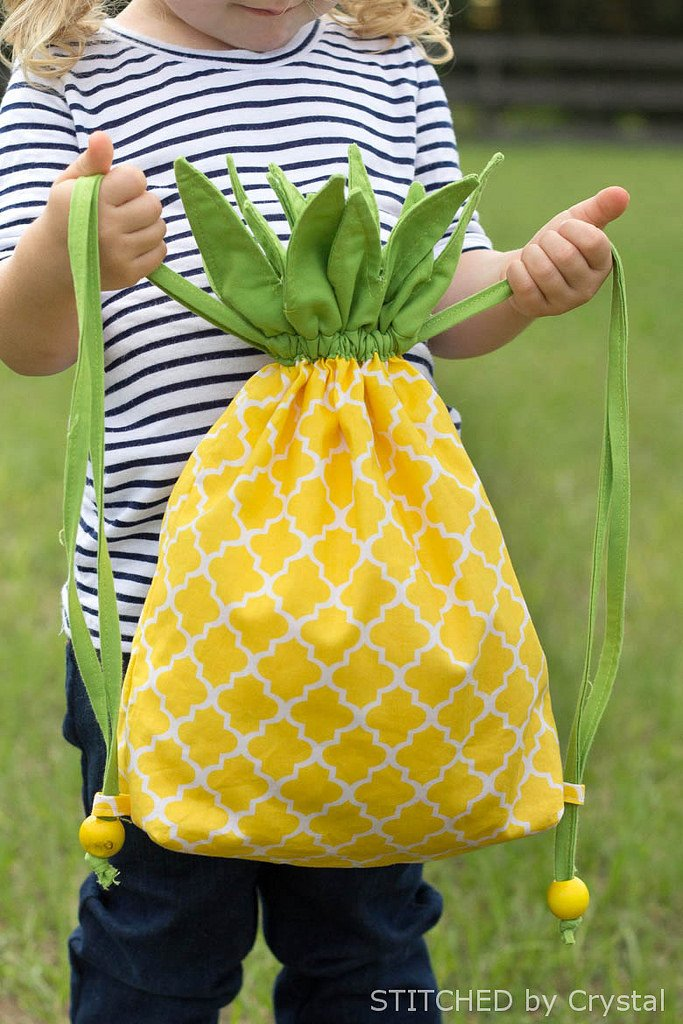 DIY Pineapple Drawstring Backback...so fun for all ages! | via Make It and Love It