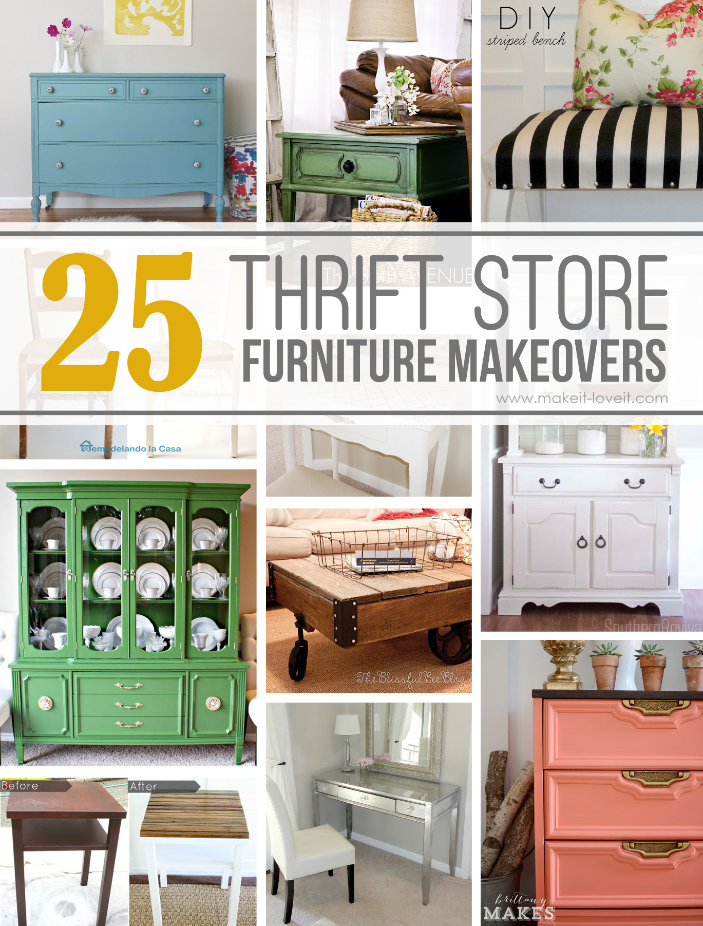Elegant 25 AMAZING Thrift Store Furniture Makeovers | Via Make It And Love It