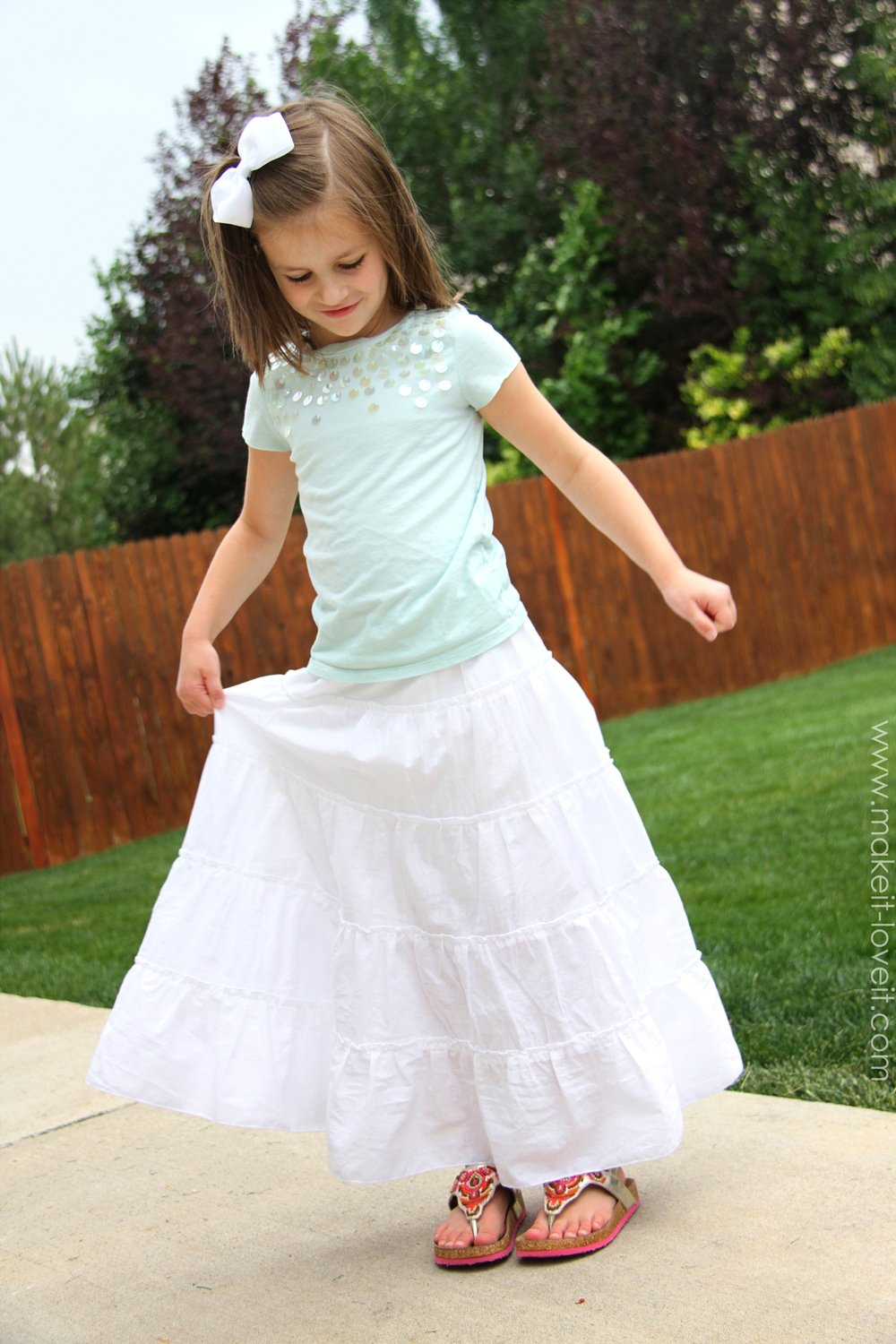 DIY Tiered Maxi Skirt…girls and women's sizing included
