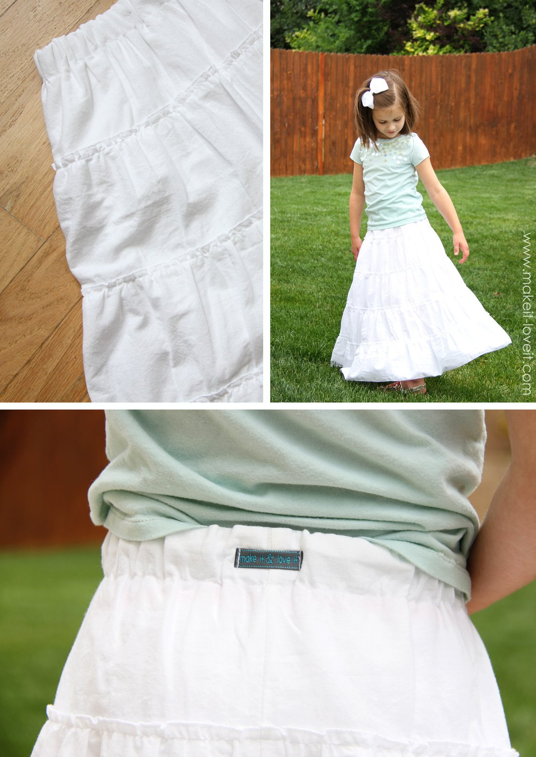 DIY Tiered Maxi Skirt...girls and womens sizing