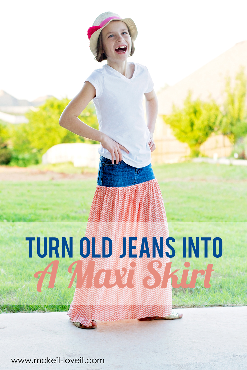 Turn Old Jeans into a Maxi Skirt   via Make It and Love It