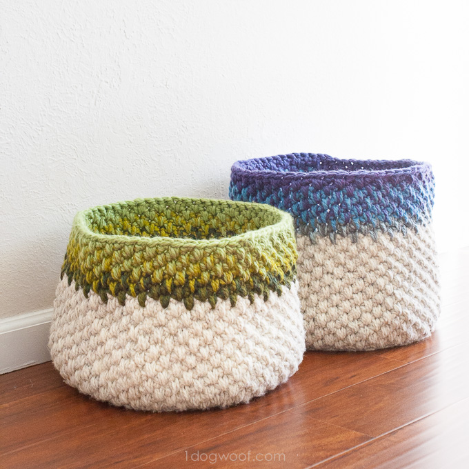 Crochet Stitches Basket : Color Block Crochet Basket via One Dog Woof