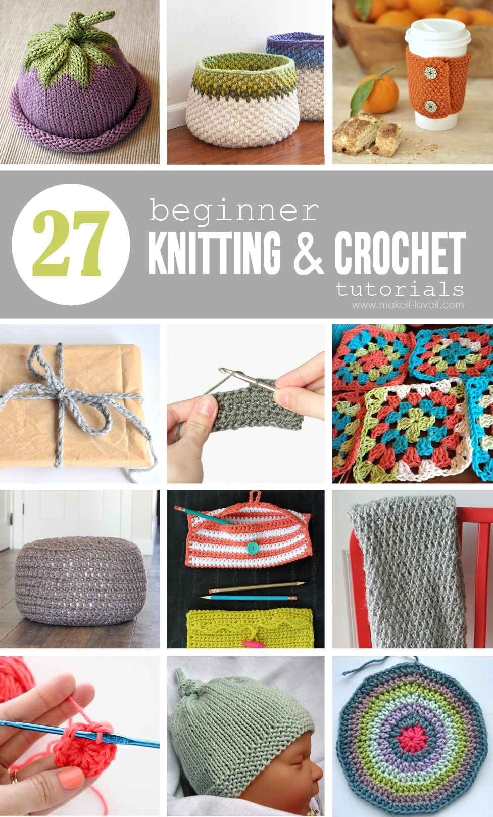 Crocheting Lessons For Beginners : 27 Beginner Knitting and Crochet Tutorials via Make It and Love It