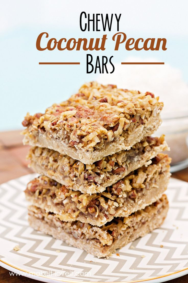 Chewy Coconut Pecan Bars…yum! (GLUTEN FREE version included)