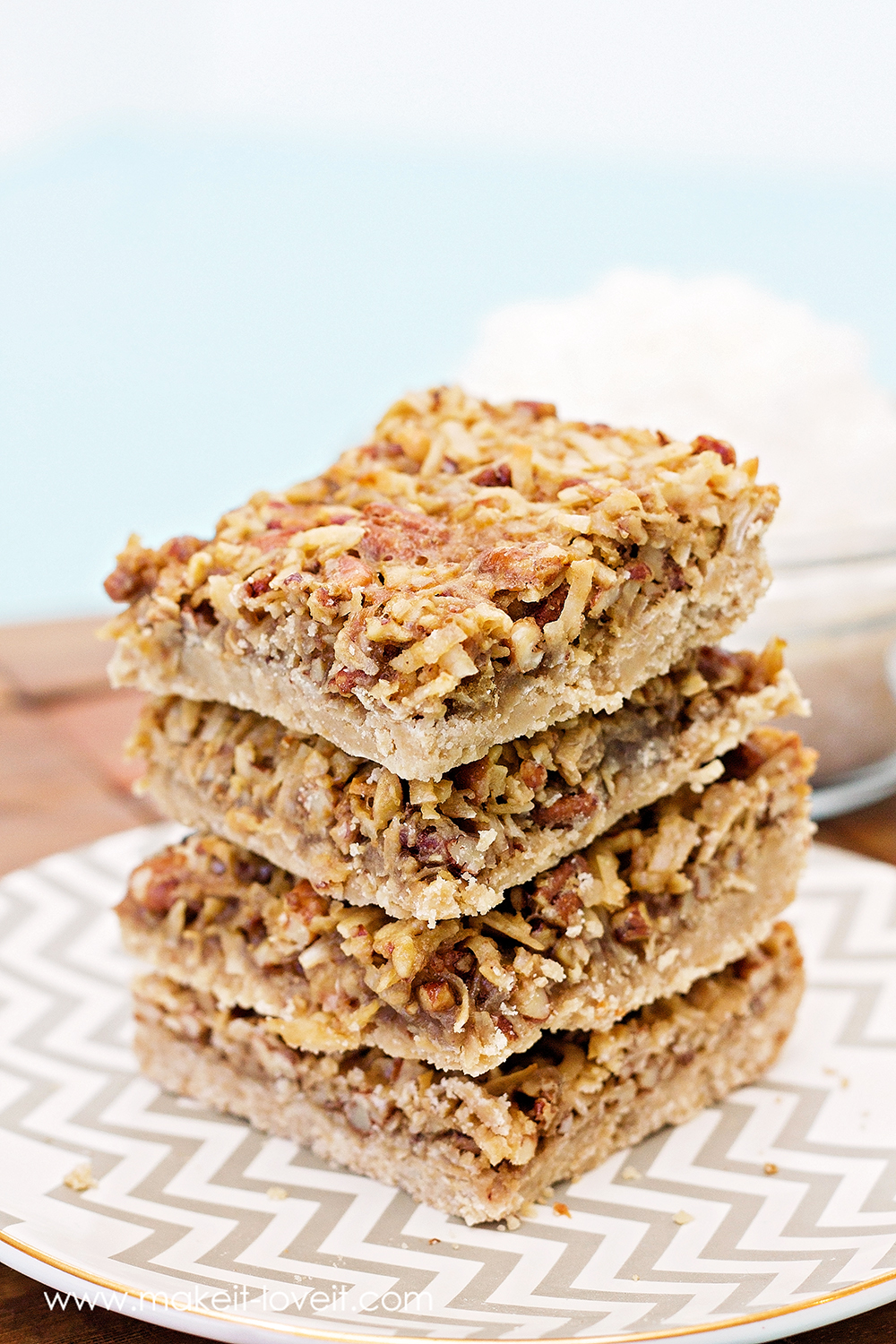 Chewy Coconut Pecan Bars...yum! (GLUTEN FREE version included)