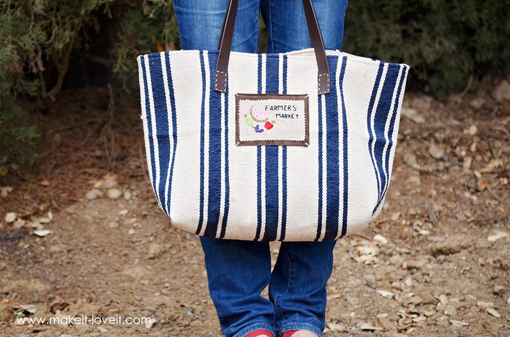 Make a Farmer's Market Bag...from an Ikea Rug   via Make It and Love It