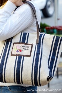Make a Farmer's Market Bag...from an Ikea Rug | via Make It and Love It