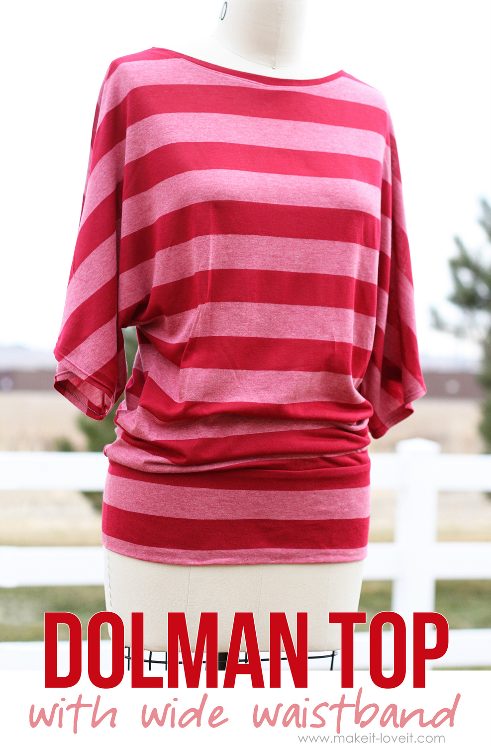 DIY: Make your own Dolman Style Shirt -- with Wide Waistband | via Make It and Love It