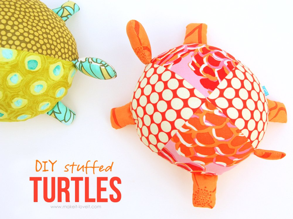 DIY Stuffed Fabric Turtles…pattern pieces included