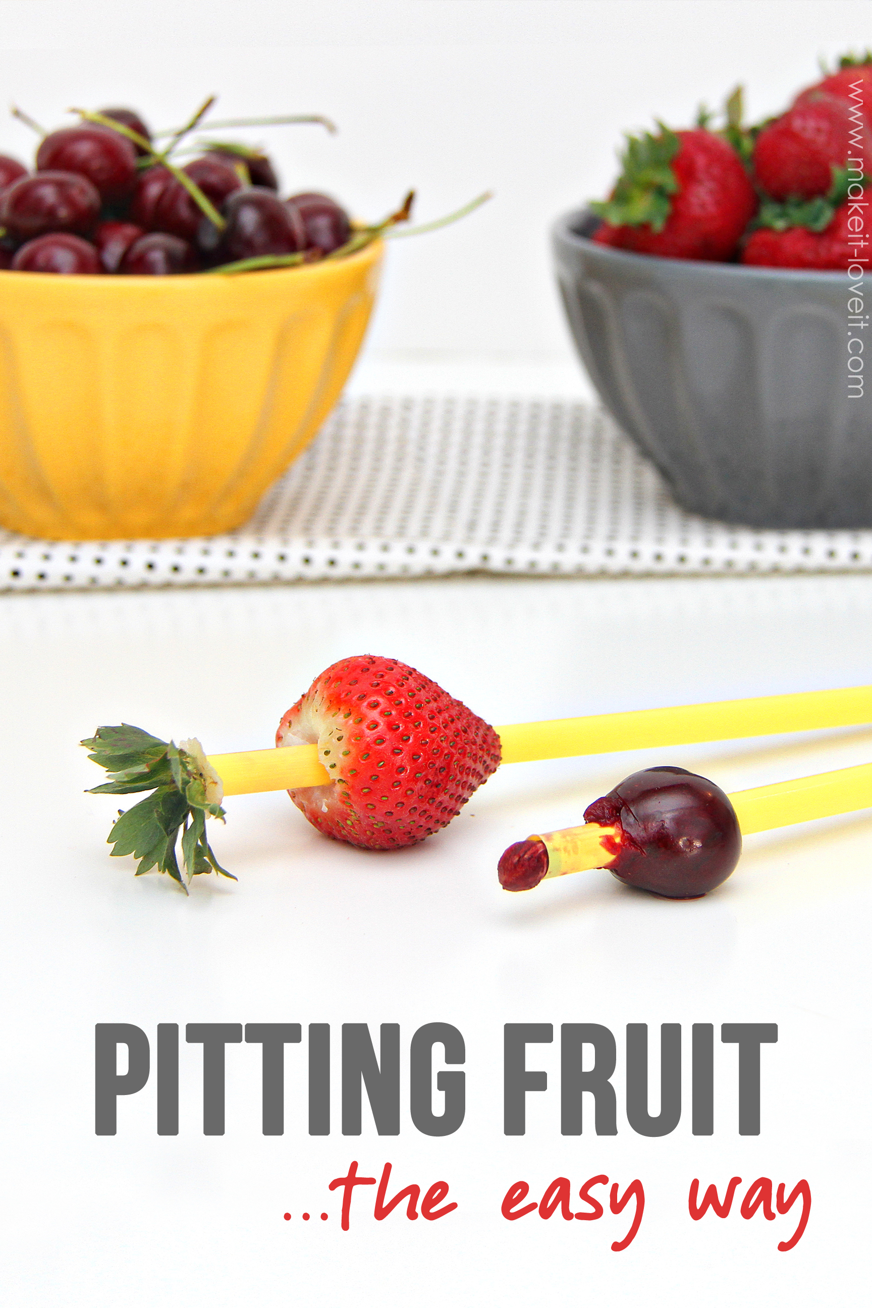 Pitting Your Fruit...the EASY way! (no special gadgets needed) | via Make It and Love It