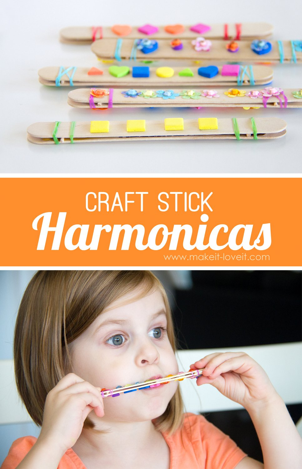 Diy craft stick harmonica kids activity skip to my lou for Quick crafts for kids