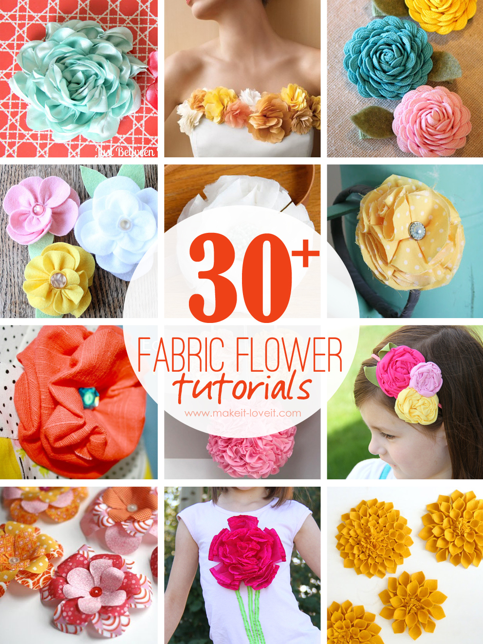 30+ DIY Fabric Flower Tutorials | via Make It and Love It
