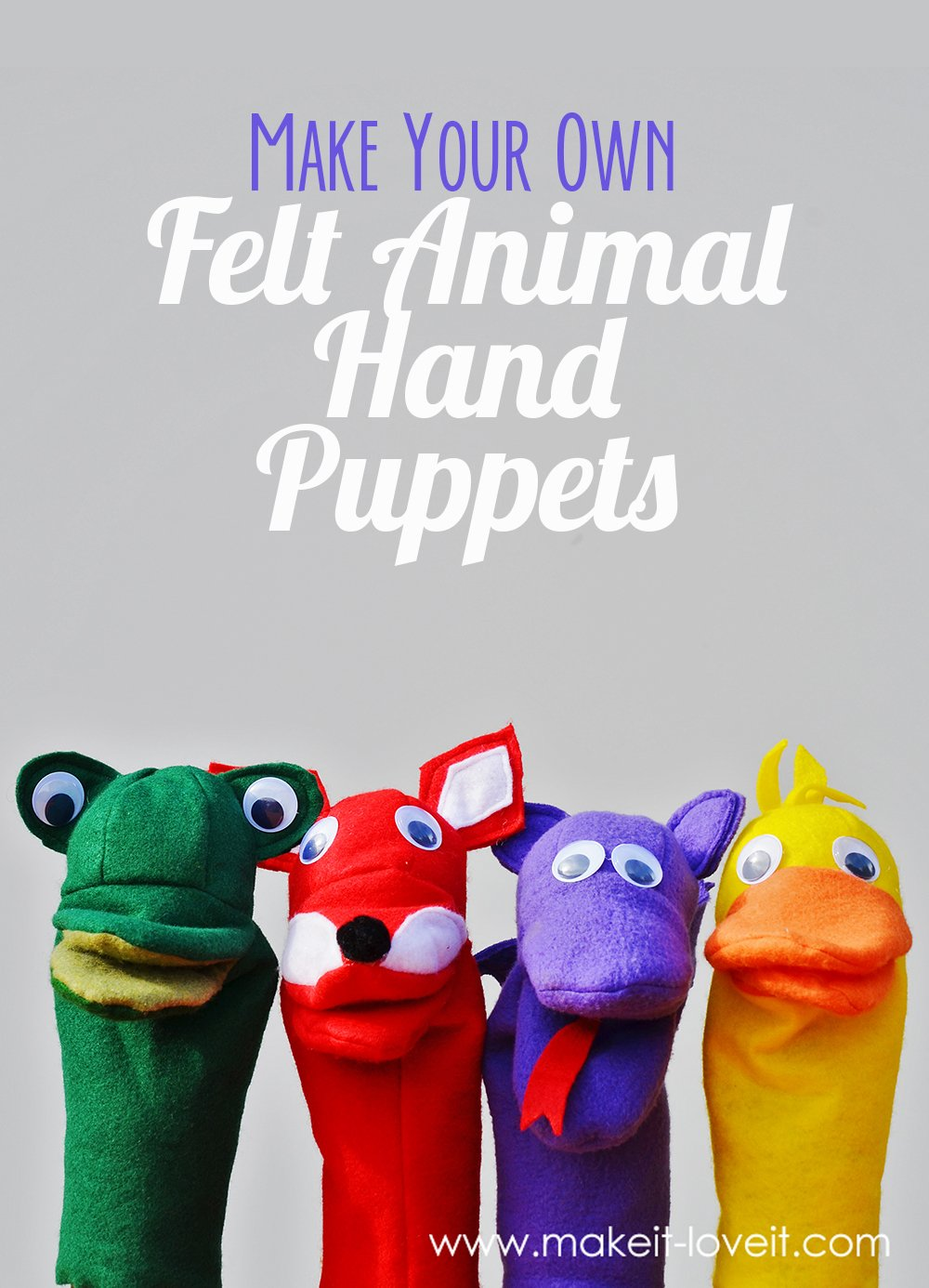Make Your Own Felt Animal Hand Puppets (FREE template included)