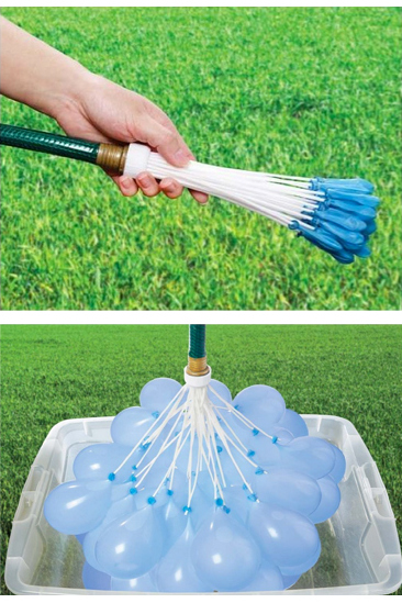 Self-Tying Water Balloons (…fill 40 at a time, in SECONDS!!!)