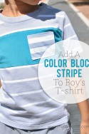 Add a color block stripe to boy's T-shirt