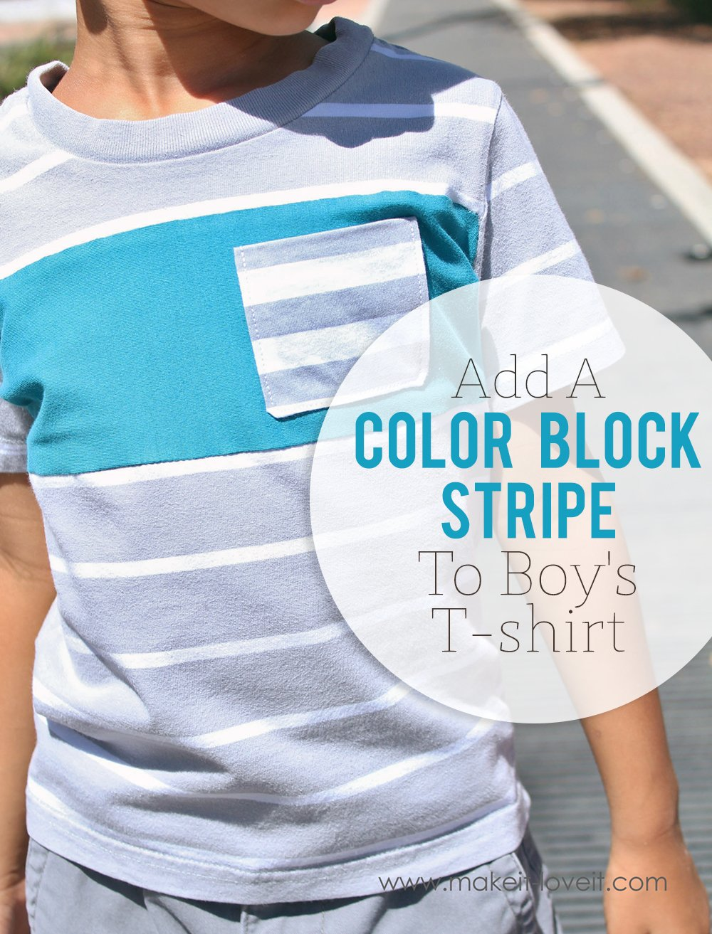 Add a Color Block Stripe to a T-shirt (…to add length)