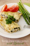Swiss chicken crepes with spinach