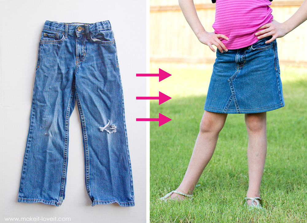 DIY: Turn Jean Pants into a JEAN SKIRT