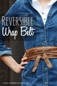 DIY Reversible Wrap Belt...a quick way to add fun detail to any outfit! | via Make It and Love It