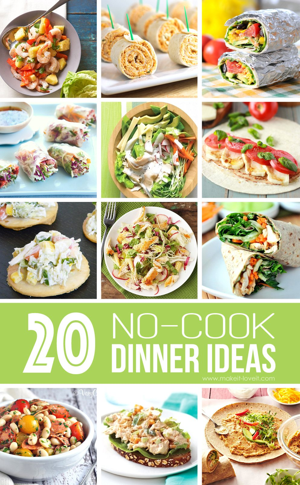 20 NO-COOK Dinner Ideas…great for summer!