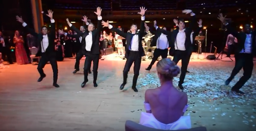 A surprise Groomsman Dance for the Bride…