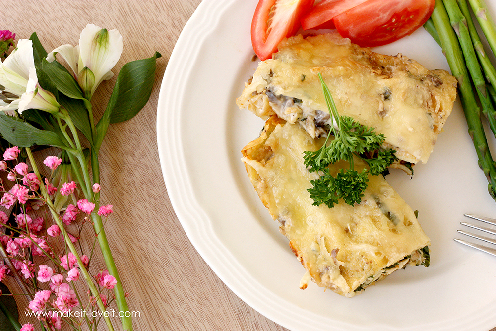 Swiss Chicken Crepes with Spinach (...Gluten Free version included)   via Make It and Love It