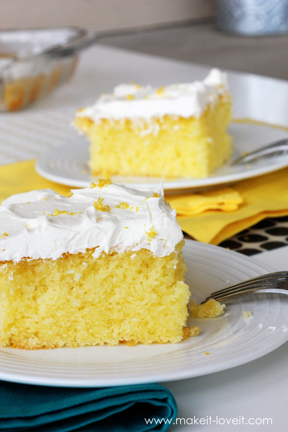 Moist and Tangy Lemon Poke Cake (...Gluten Free version included) --- a dessert everyone will love! | via Make It and Love It