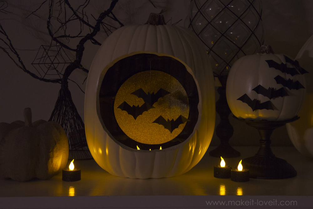 Autumn Decor Pumpkins With Hanging And Flying Bats