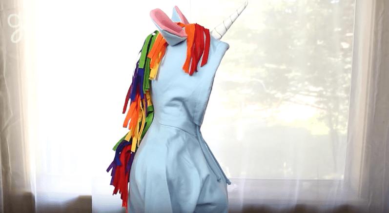A simple DIY Unicorn Hoodie Costume