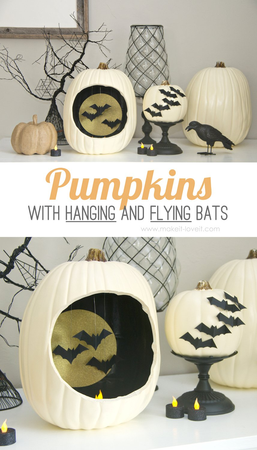 DIY Pumpkins with Hanging and Flying Bats...great autumn decor! | via Make It and Love It