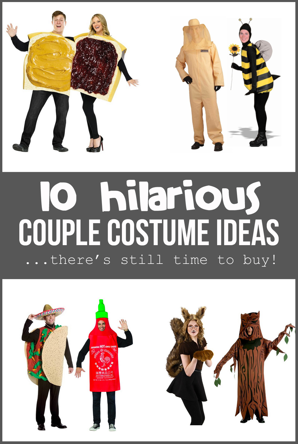 10 Hilarious COUPLE COSTUME IDEAS….there's still time to BUY!