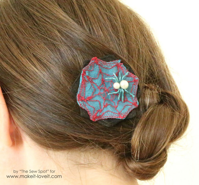 Tulle spider web hair clip