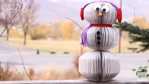 DIY Book Page Snowman…simple holiday decor!