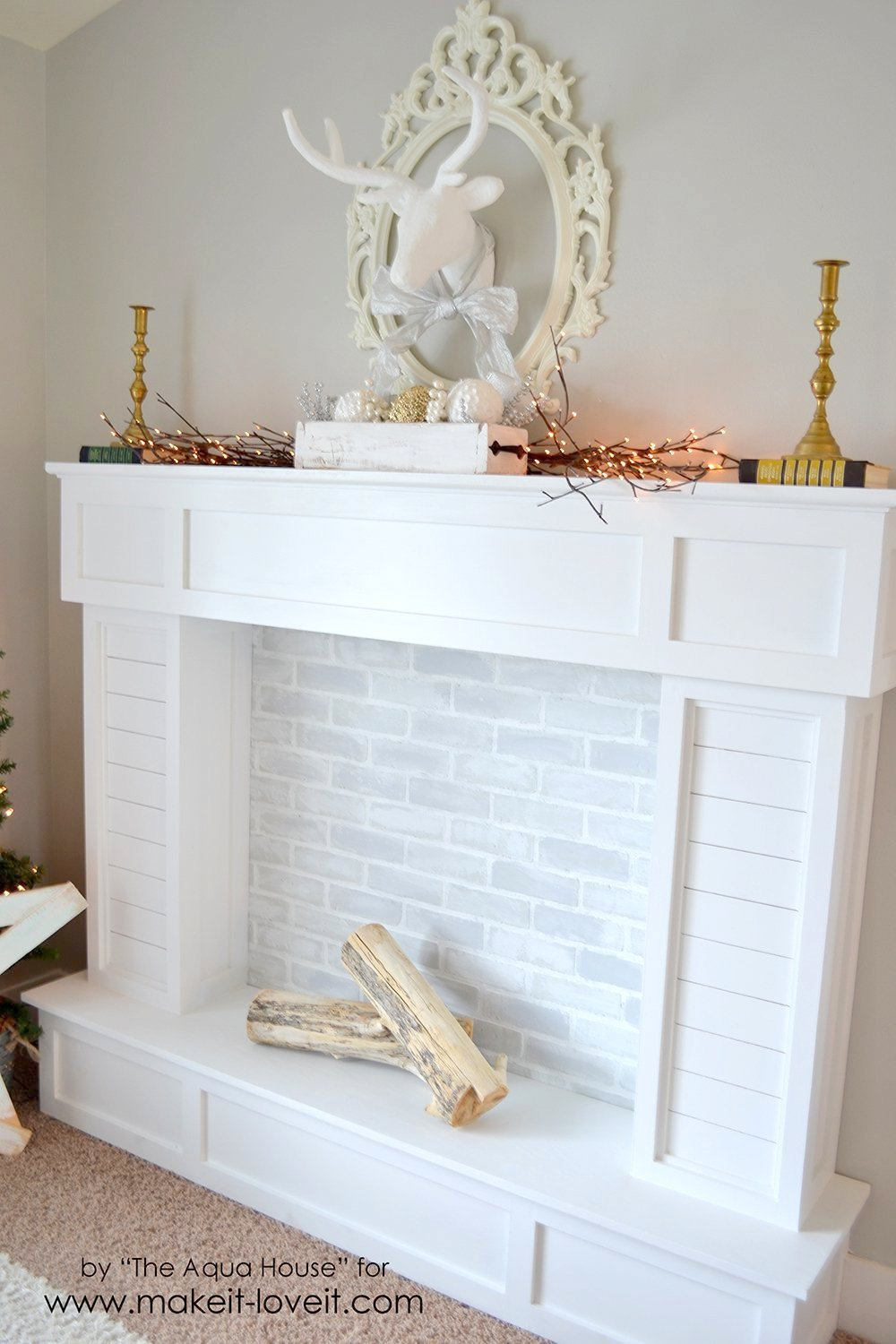 Make a FAUX FIREPLACE WITH HEARTH...that looks absolutely real! | via Make It and Love It