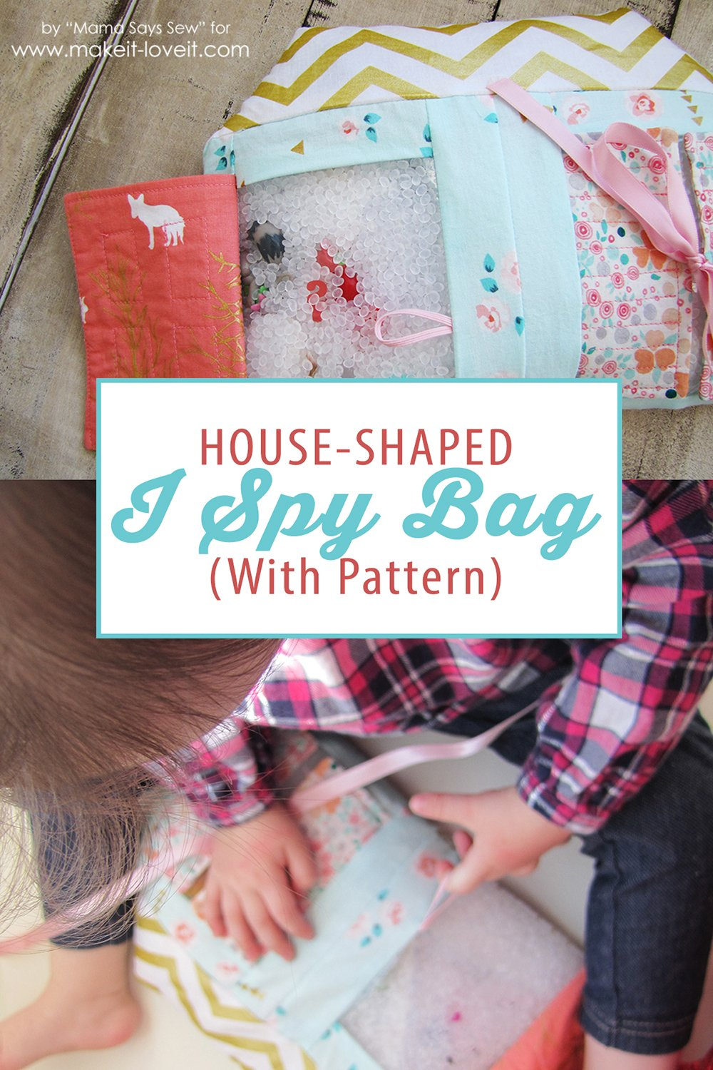 House Shaped I Spy Bag with Free Pattern | via Make It and Love It