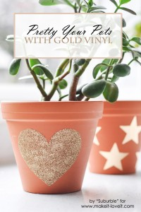Gold Vinyl on Terracotta Plant Pots