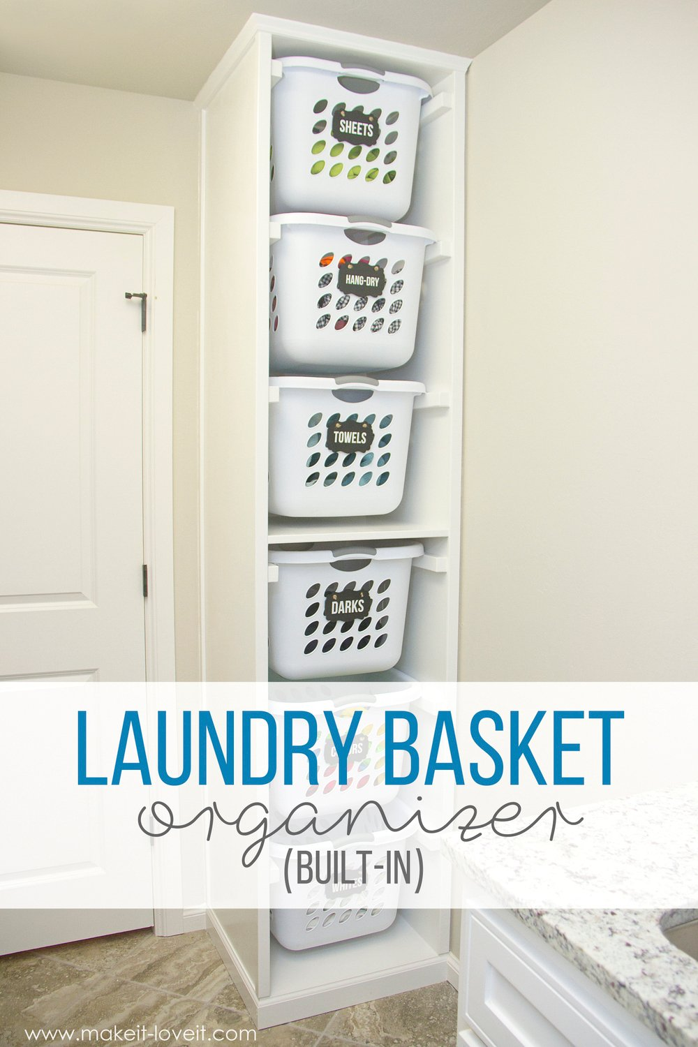 cheap garage cabinet ideas - DIY Laundry Basket Organizer Built In