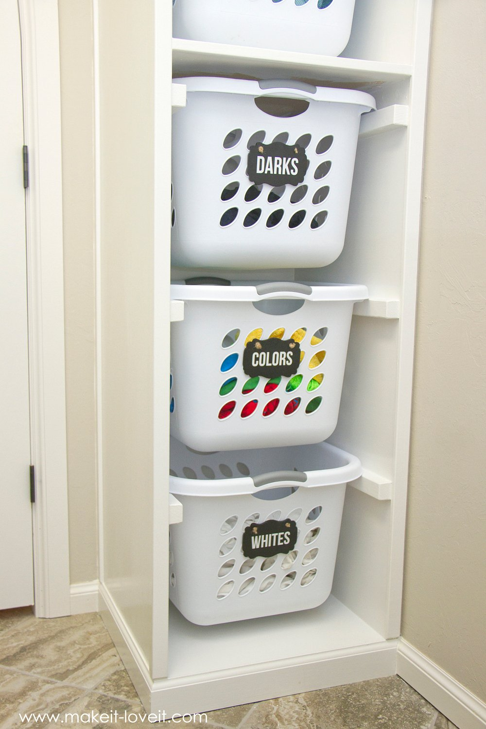 DIY Laundry Basket Organizer (Built In)