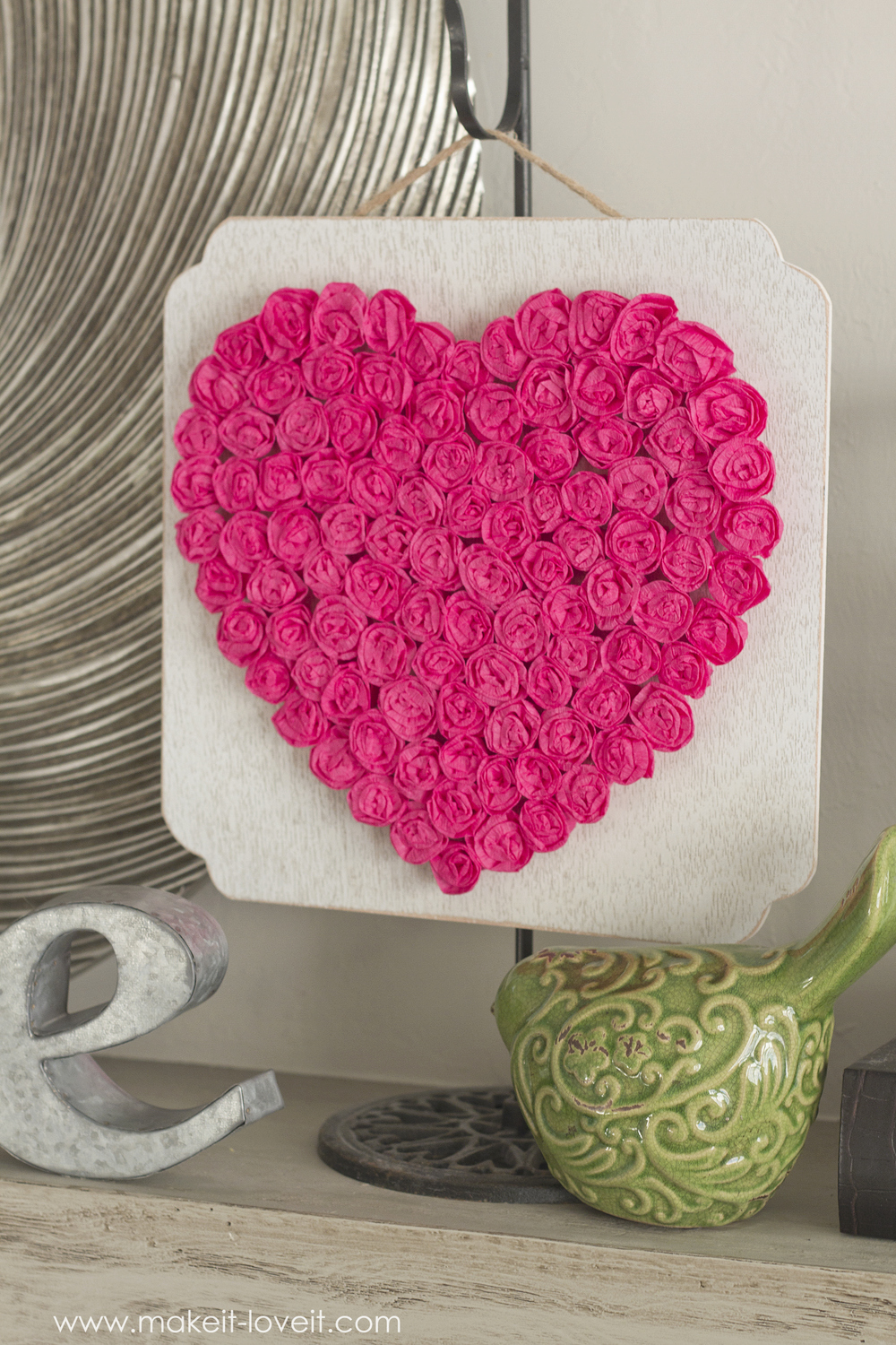 DIY Crepe Paper Rose Heart…inexpensive Valentine decor (or any time of year!)