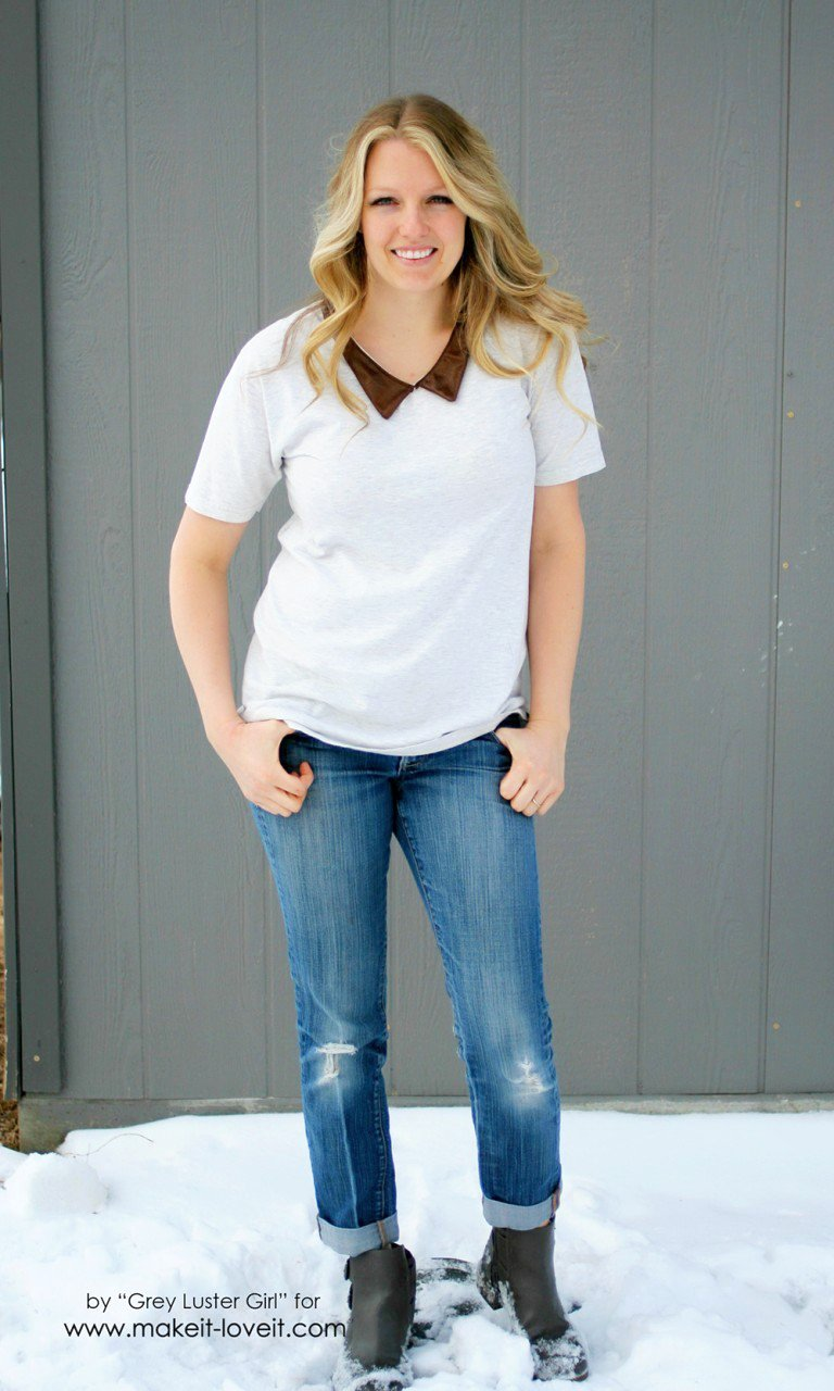 Leather Collar Shirt Refashion....a quick way to update an old shirt! | via Make It and Love It