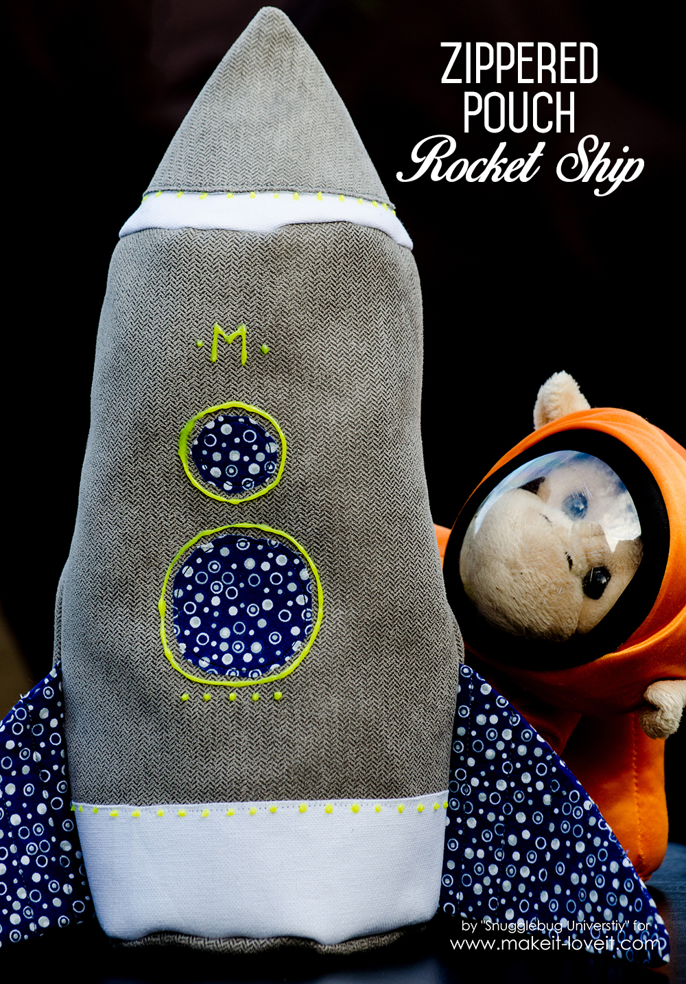 DIY Zippered Pouch Rocket Ship