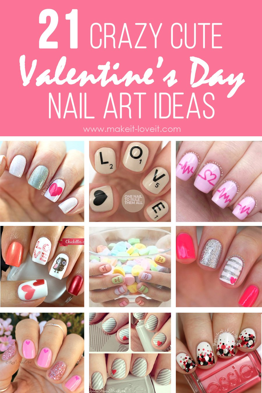 {21} Crazy Cute Valentine's Day NAIL ART IDEAS! | via Make It and - 21} Crazy Cute Valentine's Day NAIL ART IDEAS! Make It And Love It