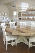 DIY Octagon Dining Room Table...with a farmhouse base. (Seats 8 comfortably!!) | via Make It and Love it