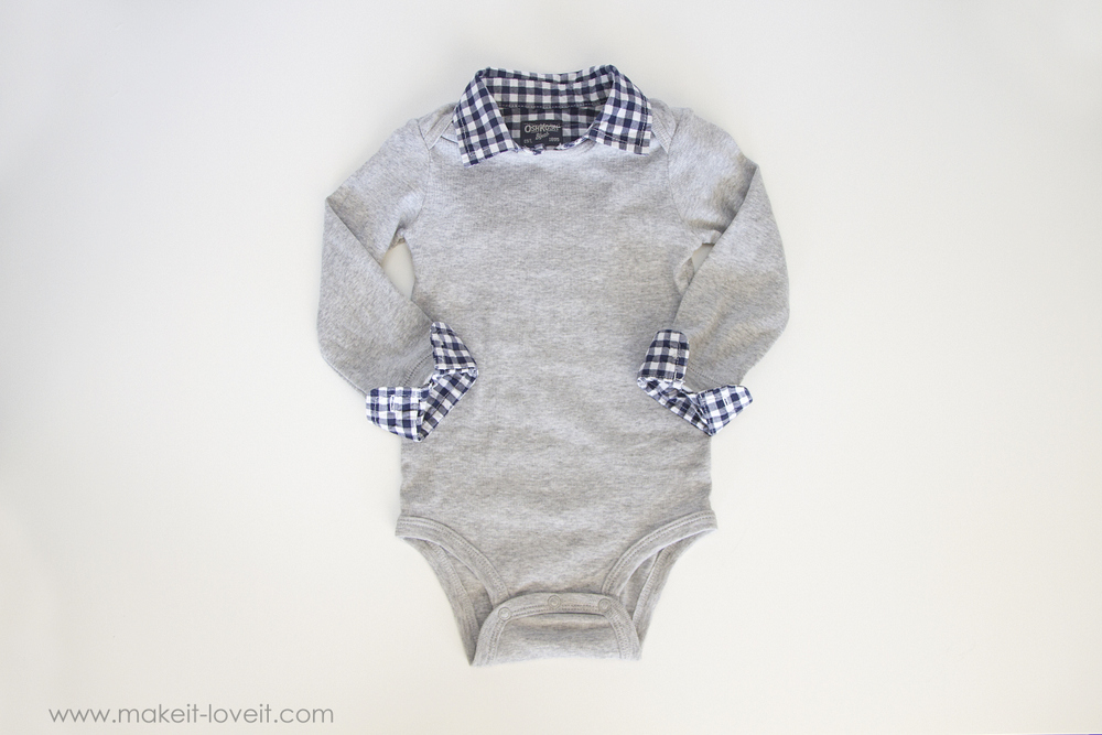 Make a 2-in-1 Preppy Shirt (from a onesie & outgrown button-up) | via Make It and Love It