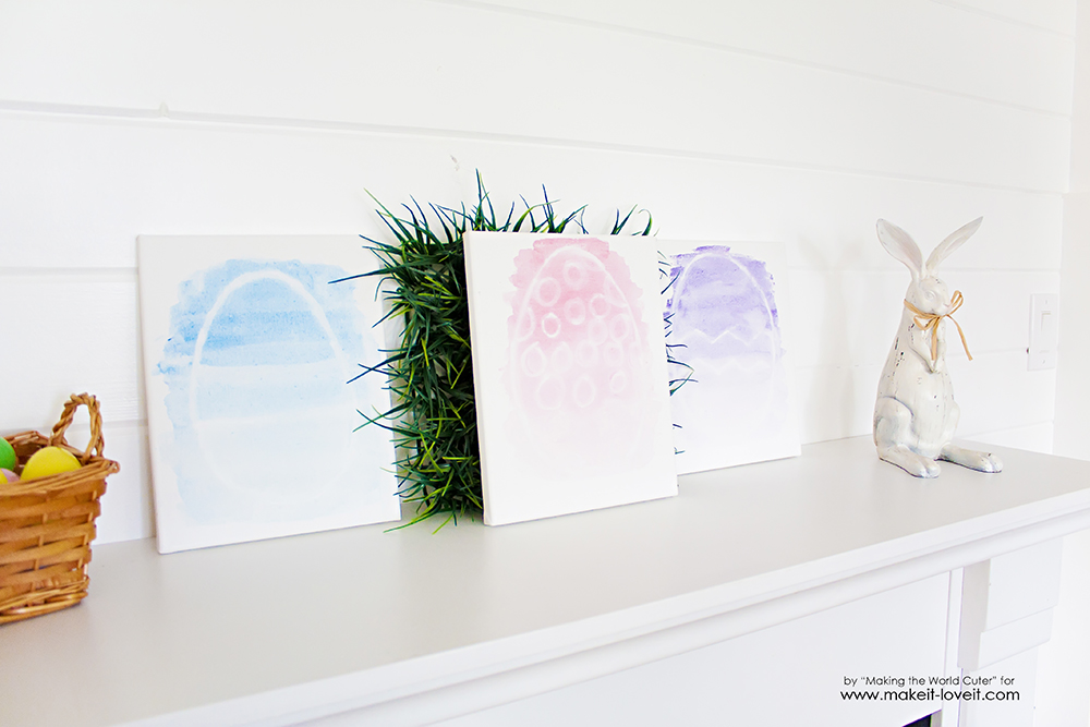 Watercolor Resist EASTER EGG Canvases | via Make It and Love It