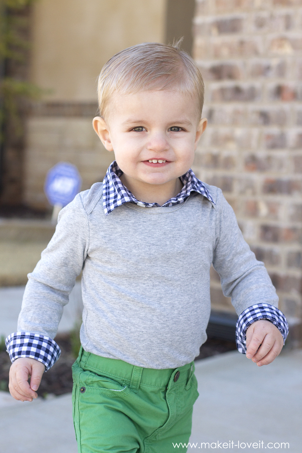 "Make a 2-in-1 ""Preppy-Style"" Shirt (from a onesie & outgrown button-up)"