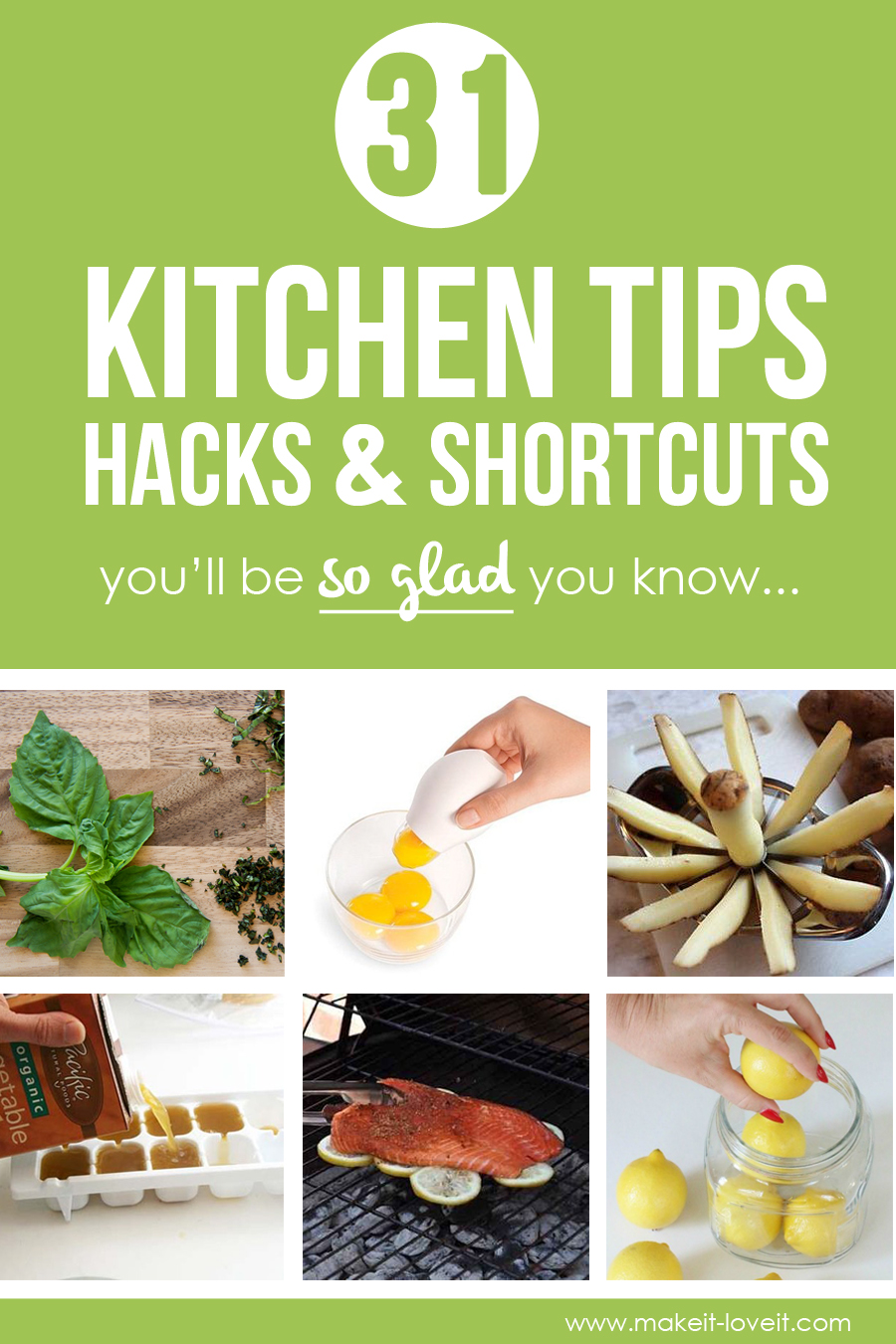 31 Kitchen Tips, Hacks, & Shortcuts you'll be SO GLAD you know! | via Make It and Love It